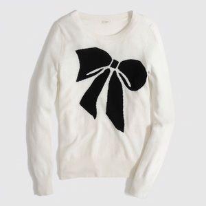 J. Crew White Sweater with Black Bow Design